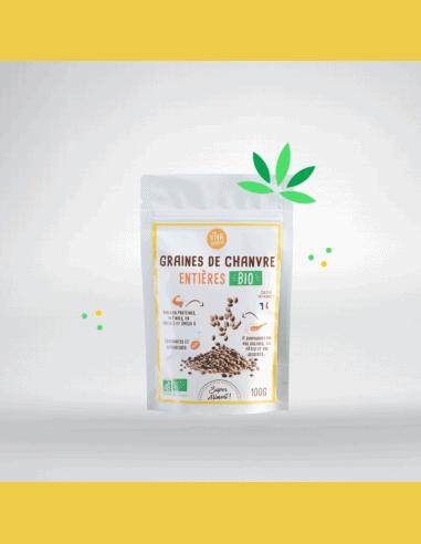 Graines entières de chanvre français biologique - 100g