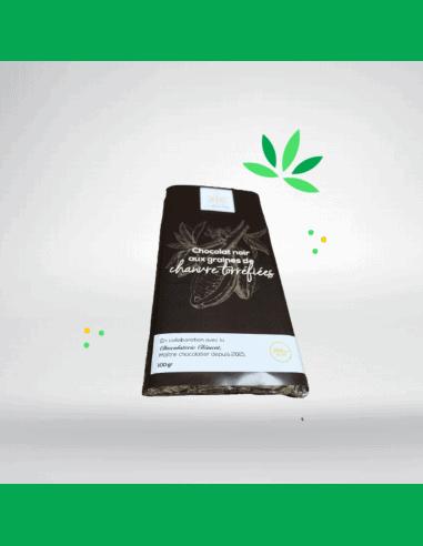 Chocolat noir, graines de chanvre  et CBD (100g)